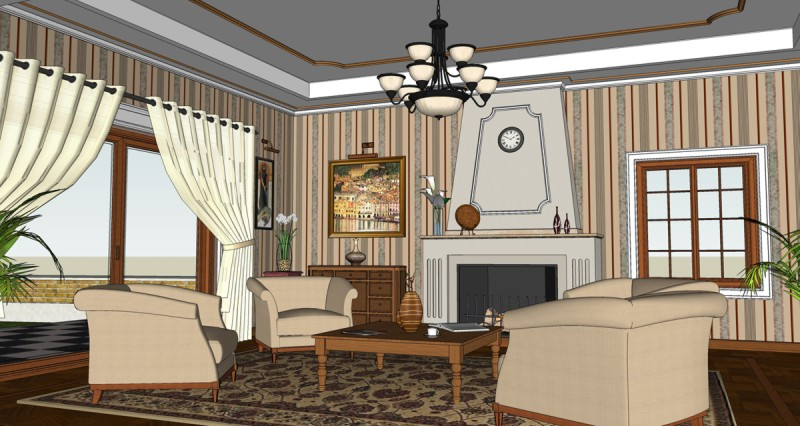 Making of a classic room sketchup 3d rendering for Make a 3d room