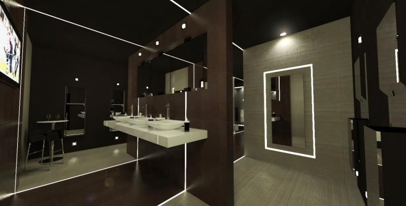 Adam warner identity nightclub sketchup 3d rendering for Mens bathroom designs