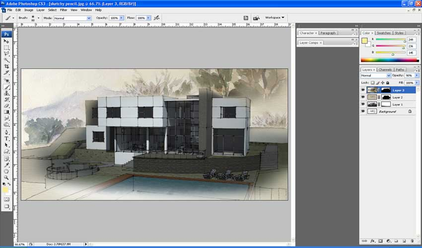A Watercolor and Line Drawing Ink Effect :: SketchUp 3D