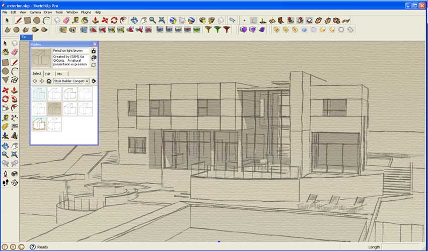 A watercolor and line drawing ink effect sketchup 3d for 3d setup builder