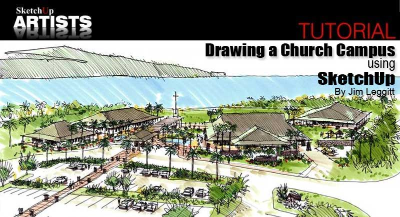 Church Perspective Drawing Drawing a Church Campus Using