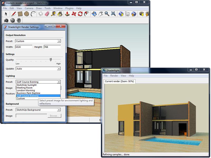 shaderlight from sketchup model to finished render sketchup 3d