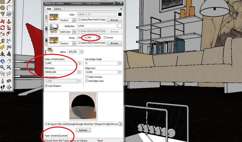Interior Scene with Twilight Render :: SketchUp 3D Rendering