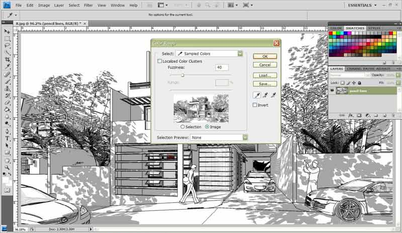 Watercolor style sketchup fotosketcher and photoshop for 3d setup builder