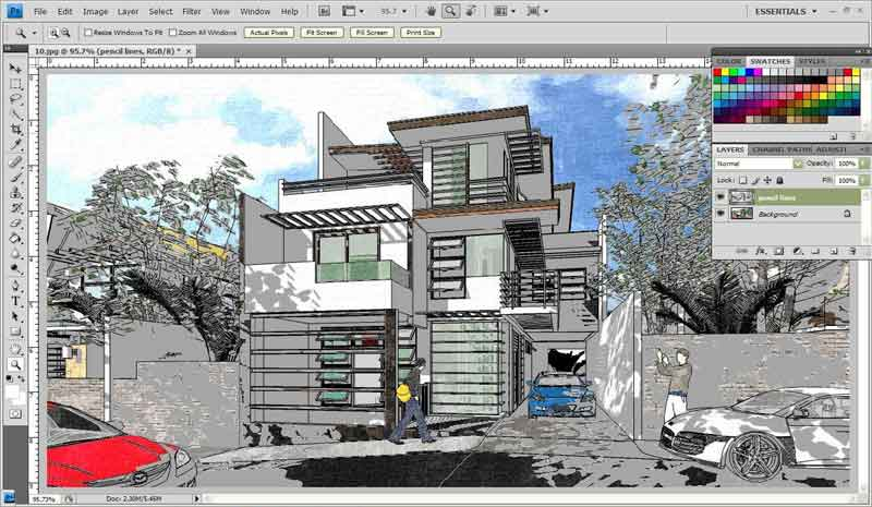 Line Art Rendering Of 3d Models : Watercolor style sketchup fotosketcher and photoshop
