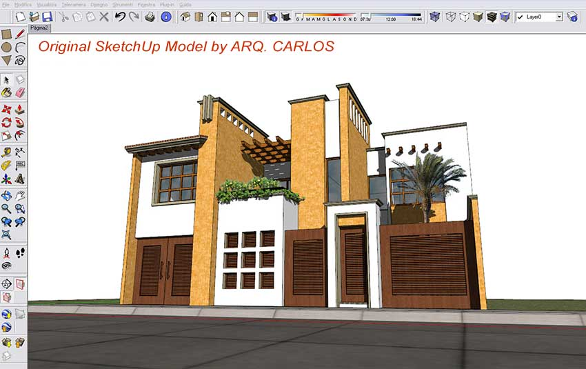 Exterior render sketchup podium photoshop v ray for sketchup and material - Painting exterior render model ...