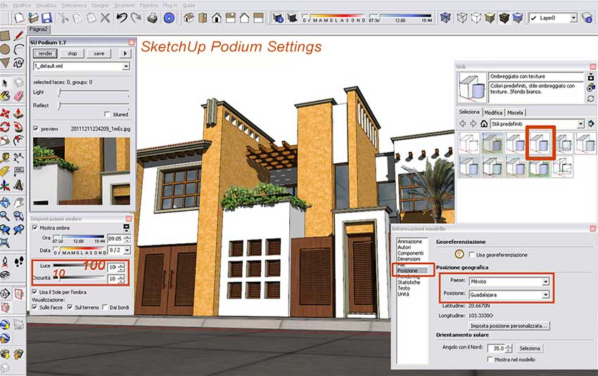 Exterior render sketchup podium photoshop v ray for sketchup and material for Setting render vray sketchup exterior