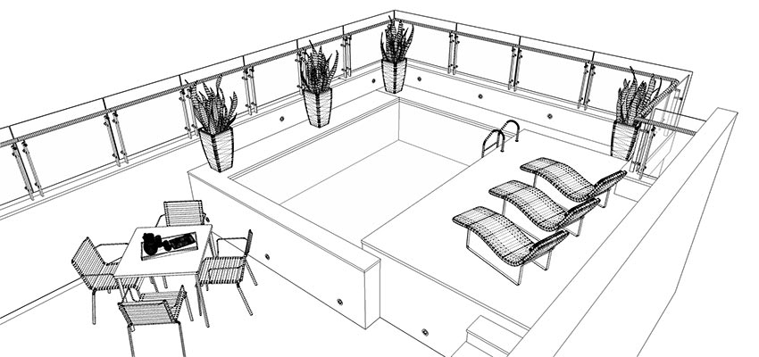 Making of balcony pool day and night sketchup 3d for Pool design sketchup