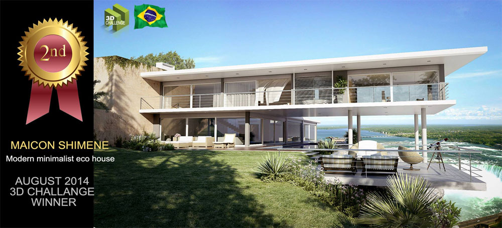 Winners of the latest 3d challenge sponsored by sketchup for Minimalist house sketchup