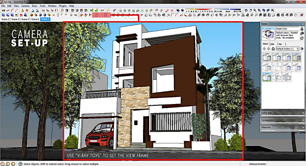 Making Of 3 Storey House Exterior :: SketchUp 3D Rendering