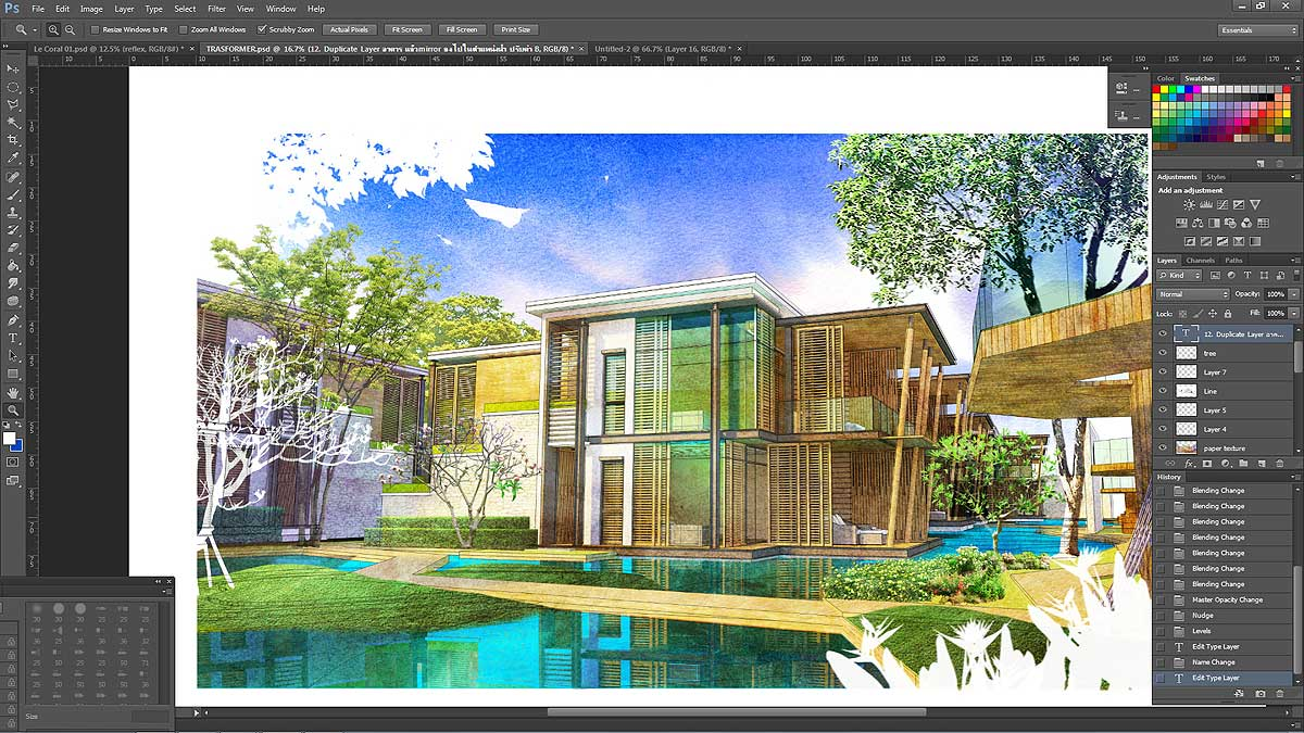 Digital Watercolor Painted in Photoshop :: SketchUp 3D