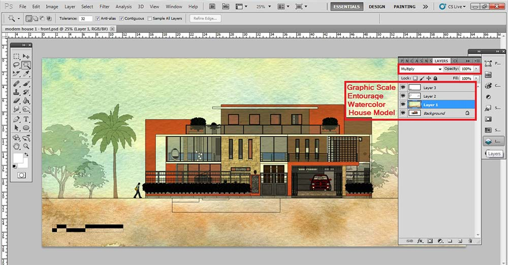 Sketchup Front Elevation : Architectural elevation digital watercolor effect for