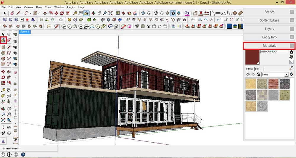 Making of container house sketchup v ray and post for Container design software